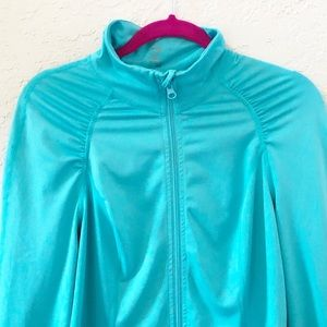 Z by Zella teal rouched jacket Size Medium EUC